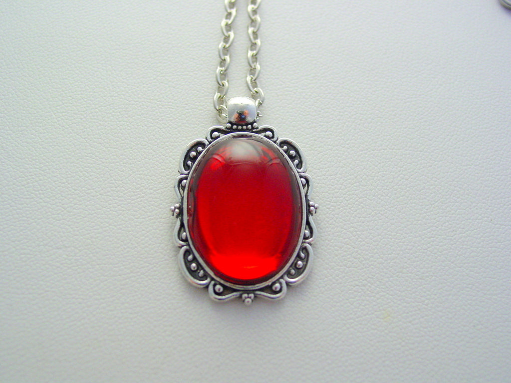 Deep Ruby Red Vintage Czech Smooth Glass Oval Filigree Picture Frame Style Necklace