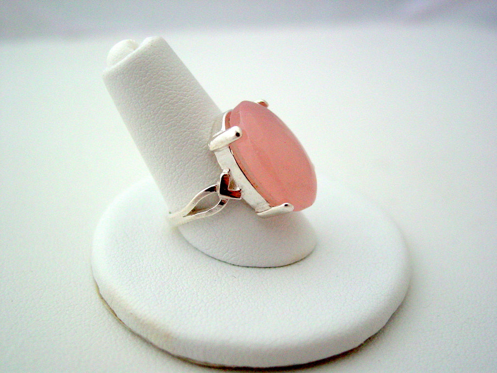 Sterling Silver Rose Quartz Ring Gemstone Ring 925 Pink Quartz Bezel Ring Sizes 6 thru 8