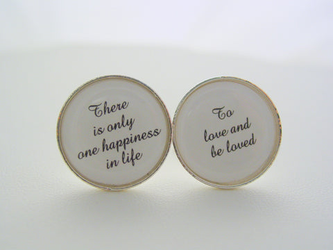 Wedding Anniversary Gift To Groom From Bride There Is Only One Happiness In Life To Love and Be Loved Cufflinks