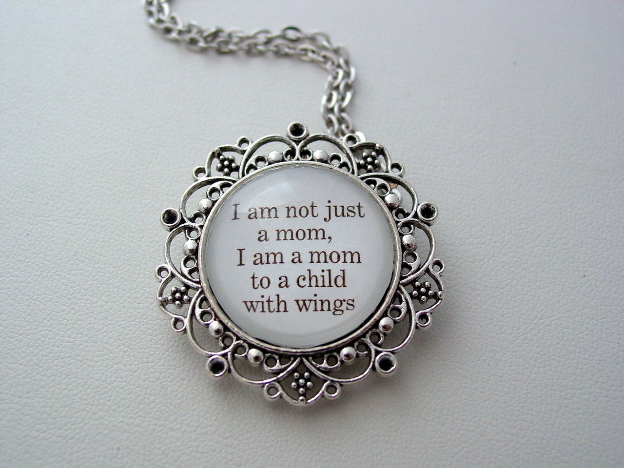 Memorial Jewelry I Am Not Just A Mom, I Am A Mom To A Child With Wings Inspiring Quote Your Choice Keychain or Necklace