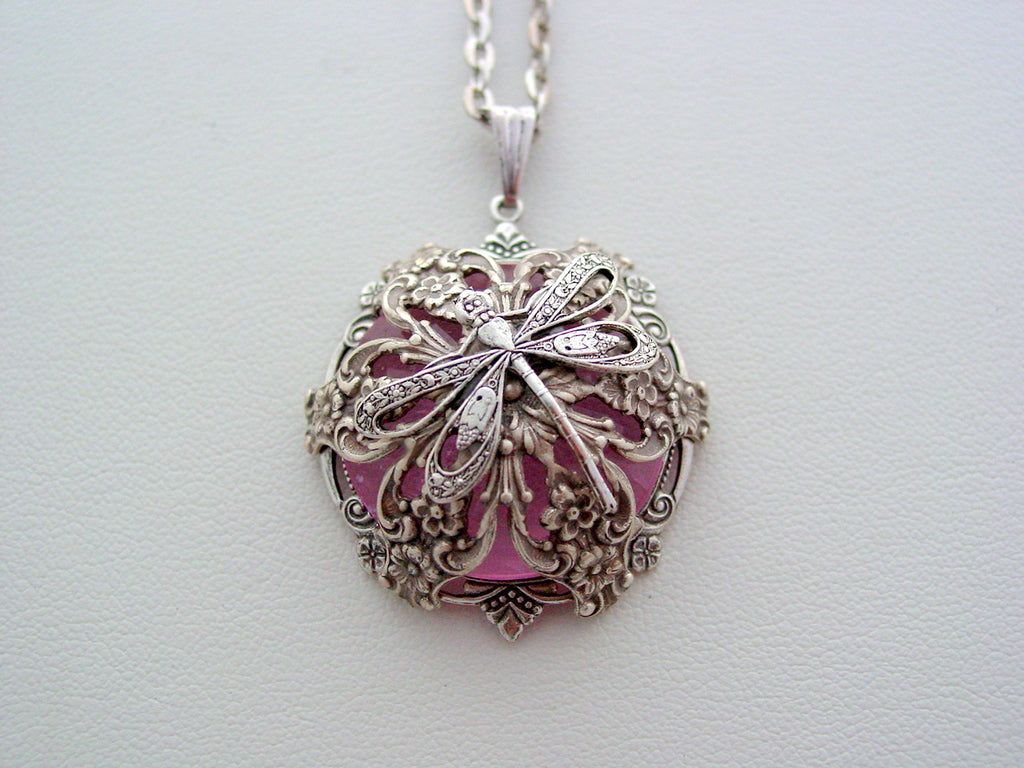 Victorian Renaissance Dragonfly Pink Layered Crystal Necklace