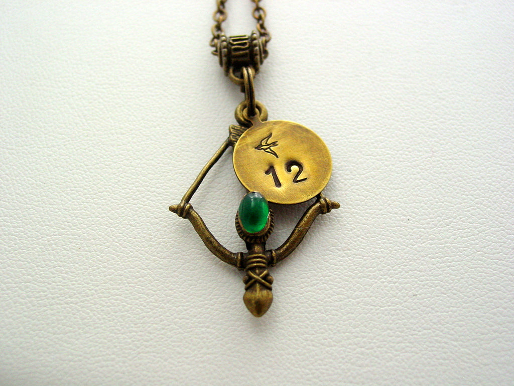 Hunger Games Bow Green Gem Hand Stamped 12 Mockingjay Antique Bronze Necklace