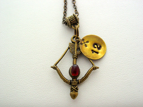 Hunger Games Bow Red Gem Hand Stamped 12 Mockingjay Antique Bronze Necklace