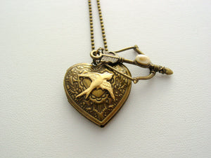 Hunger Games Heart Locket Mockingjay Bow Antique Bronze Necklace