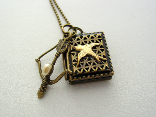 Hunger Games Antique Bronze Locket Mockingjay Bow Necklace