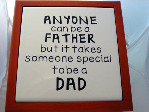 Cherry Wood Box Anyone Can Be A Father But It Takes Someone Special To Be A Dad Tiled Memory Bureau Box