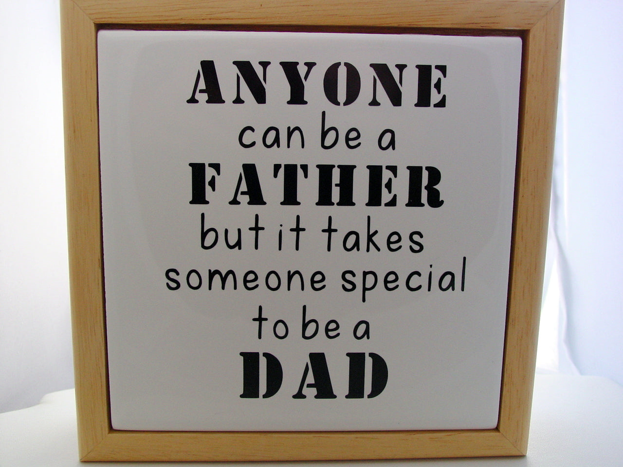 Natural Wood Fathers Day Gift Anyone Can Be A Father But It Takes Someone Special To Be A Dad Tiled Memory Bureau Box