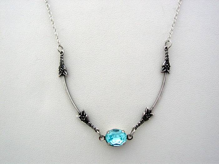 Art Nouveau Vintage Glass Aqua Necklace, Boutique Drop Necklace, Classic Art Nouveau Pendant