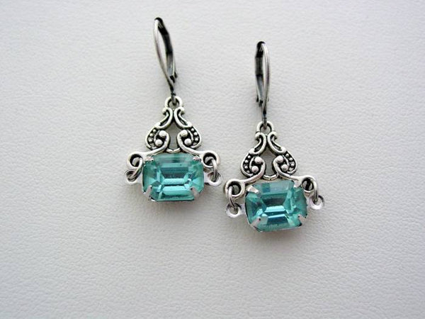 Art Nouveau Vintage Aqua Glass Earrings, Boutique Drop Earrings, Classic Art Nouveau Earrings