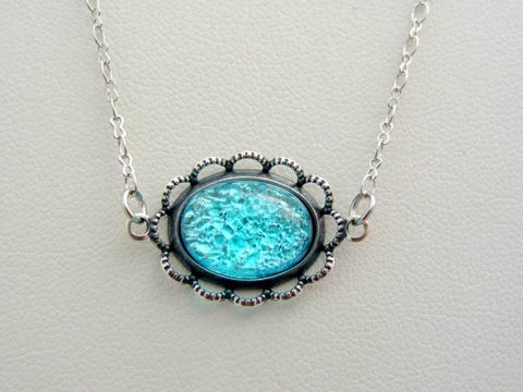 Victorian Fire Opal Necklace, Scalloped Lace Aqua Antique Silver Finish Pendant