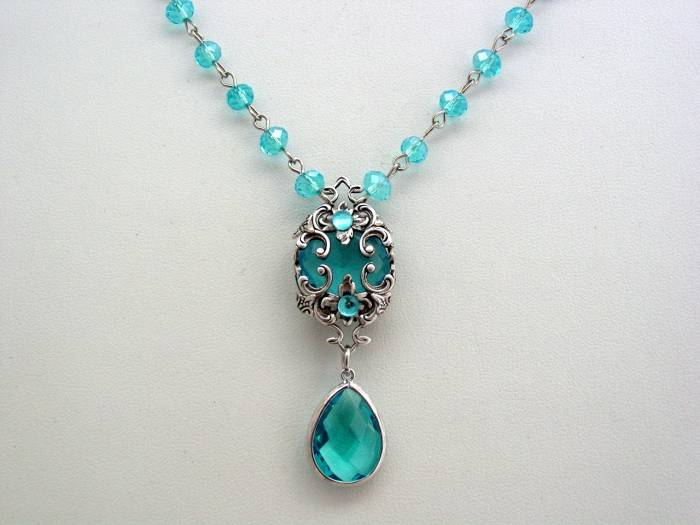 Victorian Aquamarine Necklace Crystal Teardrop Layered Drop Rosary Chain Renaissance Necklace