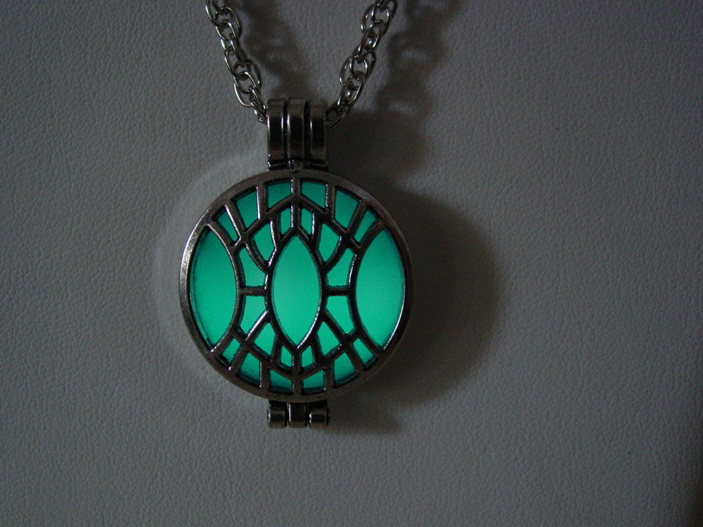 Glow In The Dark Geometric Open Design Necklace ~ Locket Bright Aqua Glow