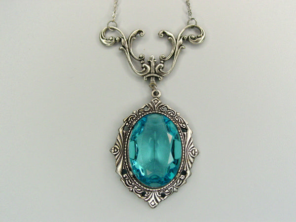 Art Nouveau Aqua Drop Necklace Vintage Czech Glass Oxidized Finish Necklace