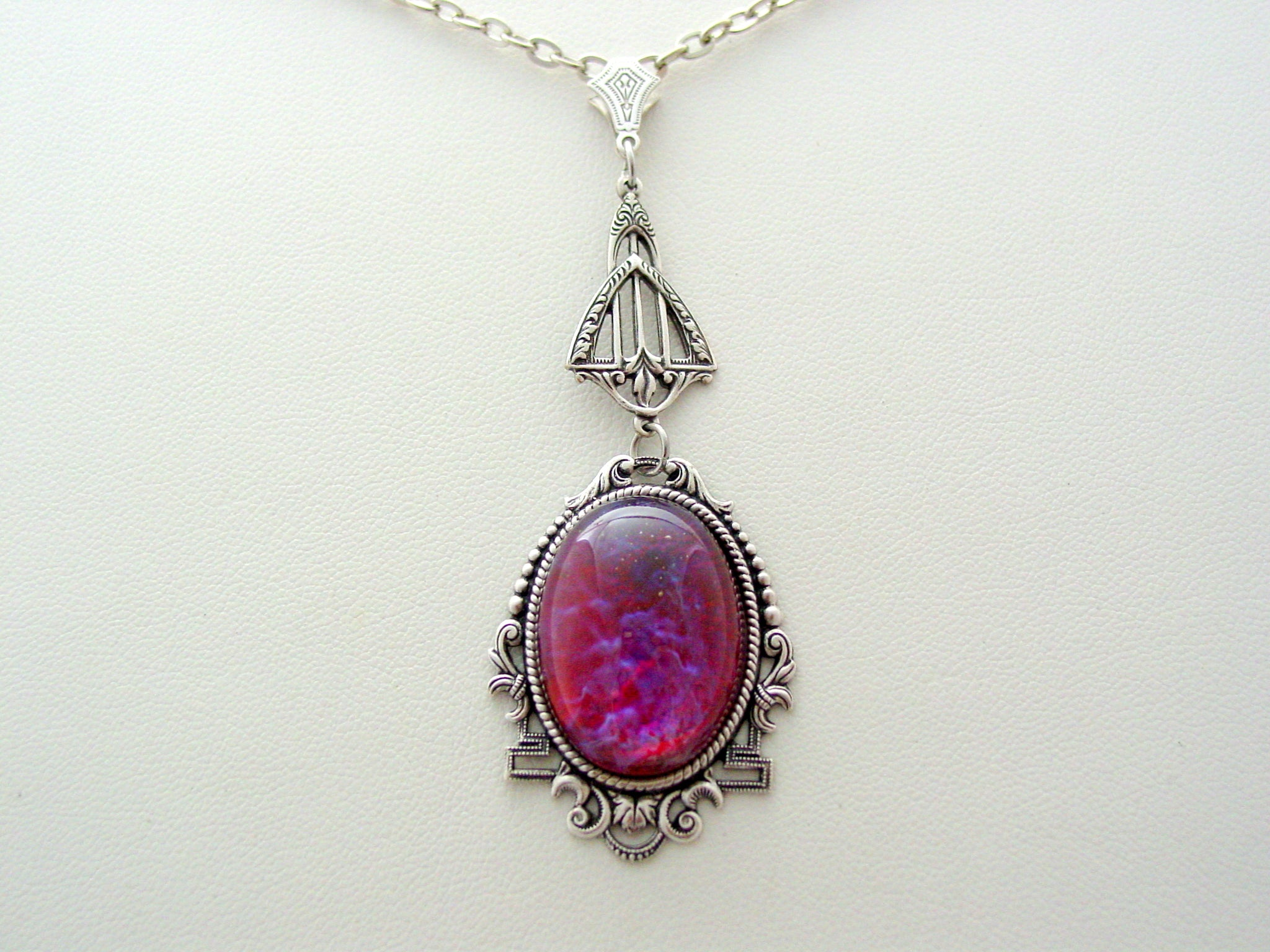 Dragons Breath Art Deco Necklace, Mexican Fire Opal Pendant, Art Deco Drop Necklace