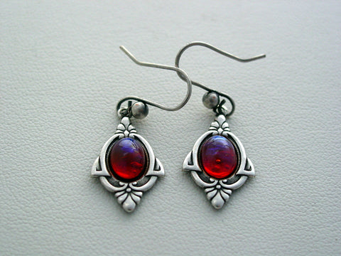 Art Deco Dragons Breath Earrings, Fire Opal Earrings, Mexican Fire Opal Glass Earrings