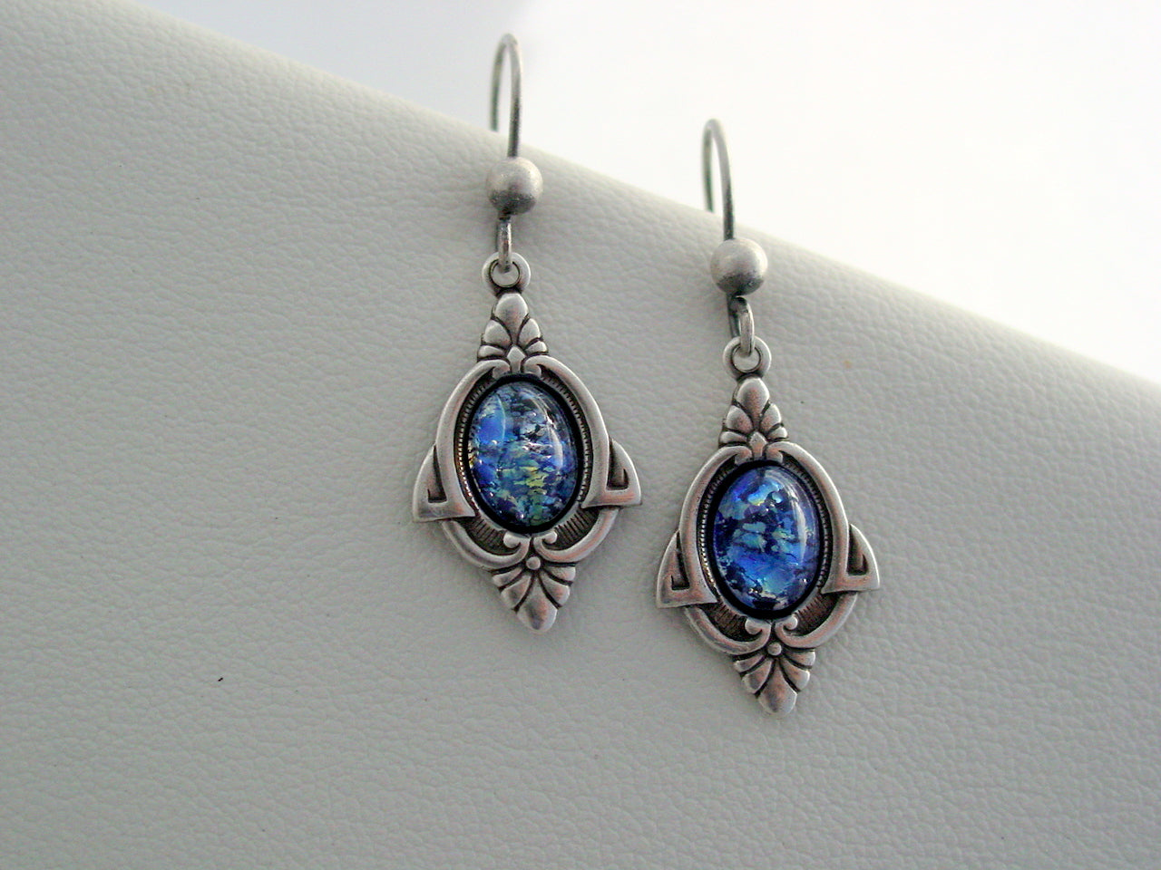 Art Deco Sea Blue Earrings, Fire Opal Earrings, Cobalt Blue Fire Opal Glass Earrings