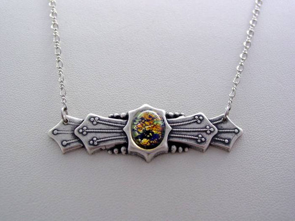 Art Deco Silver Oxidized Finish Black Blue Glass Fire Opal Art Deco Necklace with Split Chain