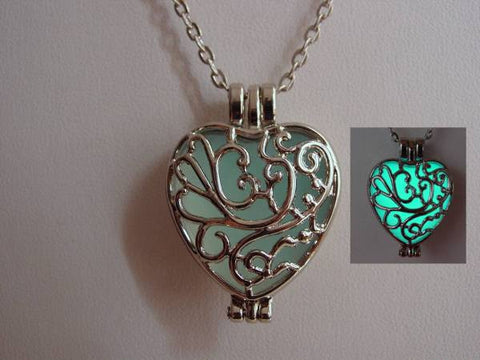 Heart Locket Aqua Glow In The Dark Frozen Filigree Heart Necklace