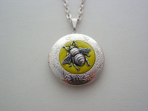 Honey Bee Locket Save The Bees Jewelry Killer Bee Pendant Queen Bee Locket Entomology Nature Necklace