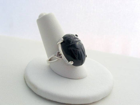 Sterling Silver Vintage Jet Black Scarab Ring, Vintage Japan Glass Scarab, Artisan Bezel Split Band