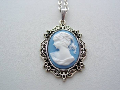 Victorian Lady Portrait Cameo Necklace, Lady Victorian Cameo Pendant