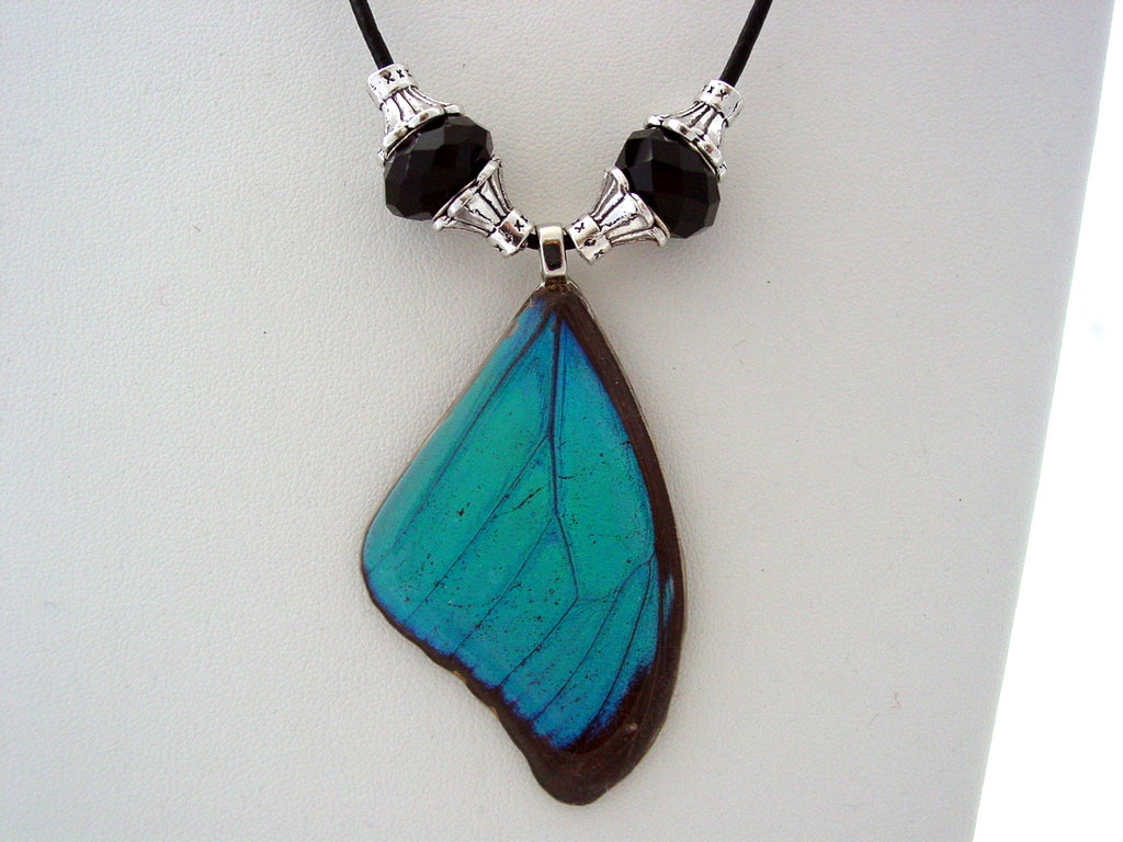 Real Butterfly Necklace Blue Morpho Butterfly Necklace Black Beads F5