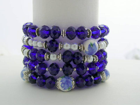 Stackable Swarovski Bracelets, Crystal Cobalt Blue Stackable Bracelet, Pearl Stackable Bracelets, Porcelain Bead Bracelet, Multiple Stackable Bracelets