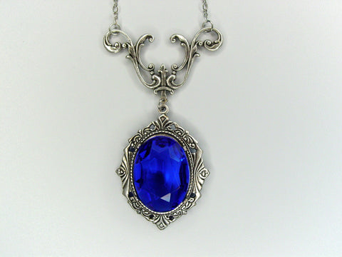 Art Nouveau Sapphire Blue Drop Necklace Vintage Czech Glass Oxidized Finish Necklace