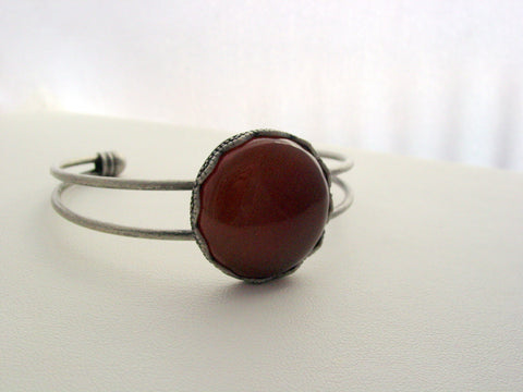 Carnelian Cuff Bracelet Gemstone Antique Silver Platinum Finish