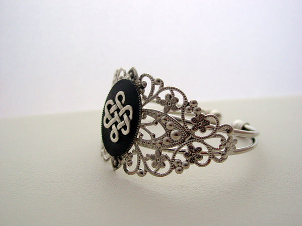 Scottish Heritage Celtic Knot Cuff Bracelet Adjustable Filigree Celtic Knot Rhodium Bracelet