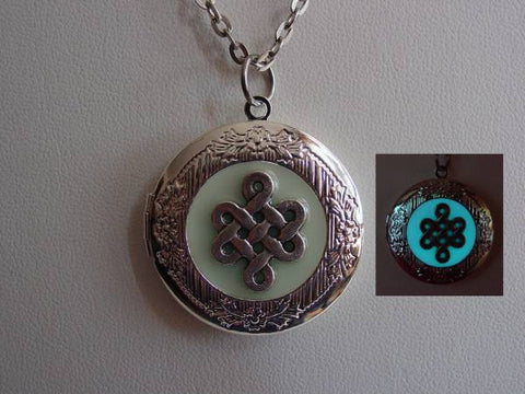 Glow In The Dark Silver Celtic Knot Necklace ~ Locket Bright Aqua Glow