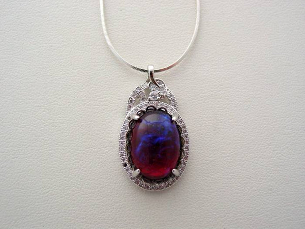 Dragons Breath Fire Opal Cubic Zirconia Necklace, Sterling Silver Flat Snake Chain, Fire Opal Necklace