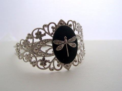 Dragonfly Cuff Bracelet Adjustable Filigree Rhodium Bracelet