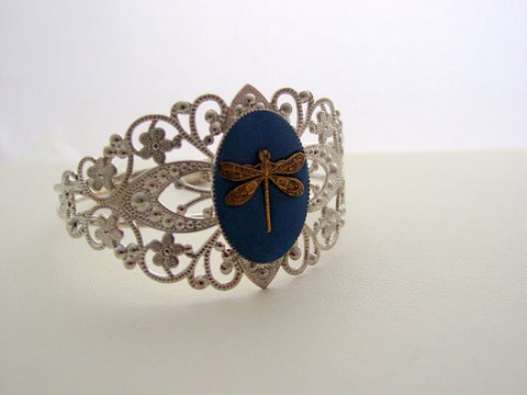 Antique Bronze Dragonfly Cuff Bracelet Adjustable Filigree Rhodium Bracelet