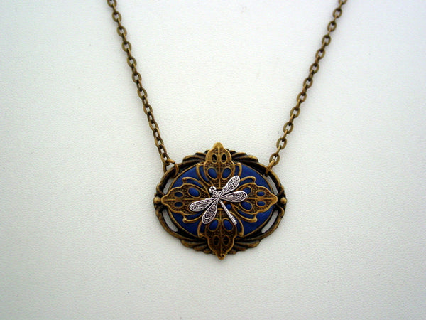 Victorian Dragonfly Necklace, Dragonfly Filigree Necklace, Unique Dragonfly Pendant, Antique Bronze