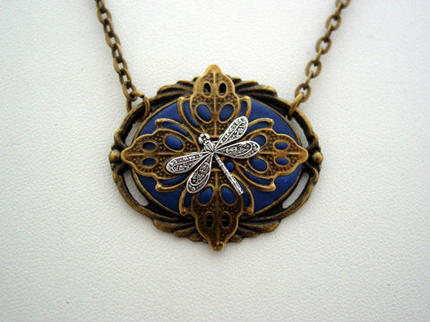 Victorian Dragonfly Antique Bronze Dragonfly Detailed Filigree Necklace Unique Dragonfly Pendant