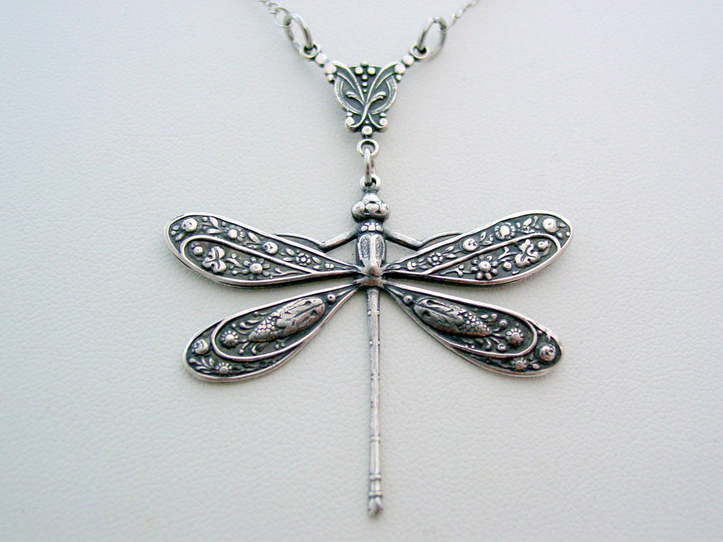 Victorian Dragonfly Necklace Dragonfly Pendant Split Chain