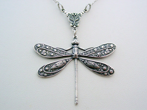 Victorian Dragonfly Drop Necklace Dragonfly Pendant Split Chain