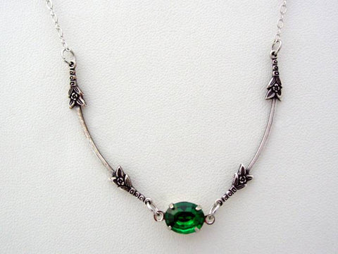Art Nouveau Vintage Glass Emerald Necklace, Boutique Drop Necklace, Classic Art Nouveau Pendant