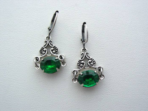 Art Nouveau Vintage Emerald Glass Earrings, Boutique Drop Earrings, Classic Art Nouveau Earrings