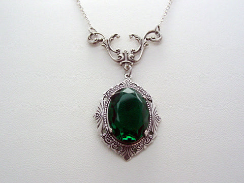 Art Nouveau Emerald Green Drop Necklace Vintage Czech Glass Oxidized Finish Necklace