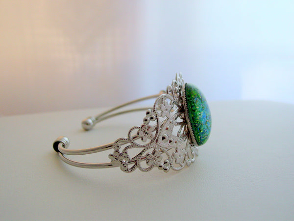 Emerald Fire Opal Cuff Bracelet Rhodium Finish Fire Opal Filigree Cuff Bracelet