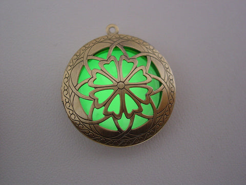 Glow In The Dark Bronze Open Petal Flower Necklace ~ Locket Bright Green Glow