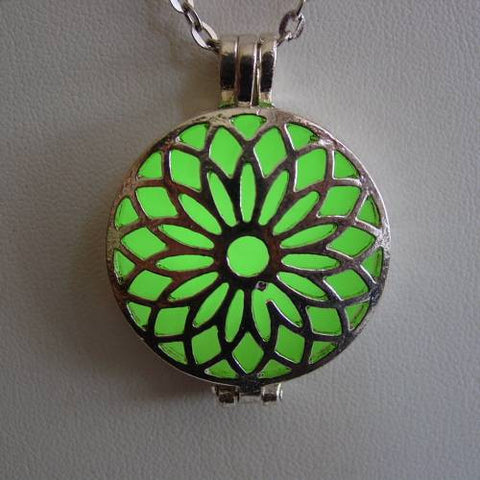 Glow In The Dark Silver Lotus Flower Necklace ~ Locket Bright Green Glow