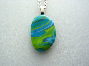 River Rock Jewelry, Blue Green Wearable Fluid Art Necklace, Original Alaskan Rock Organic Jewelry, Dirty Pour Necklace, Nature Jewelry (grr2)