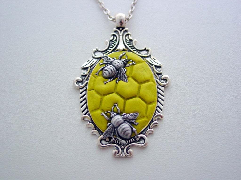 Queen Bee Necklace Where Have All The Bees Gone Honeycomb Jewelry Killer Queen Bee Pendant Entomology Nature Necklace Save The Bees