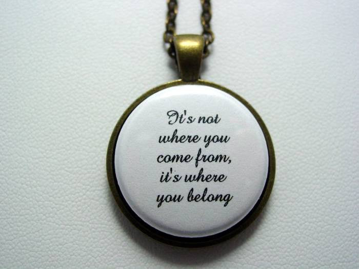 It's Not Where You Come From It's Where You Belong Necklace or Keychain Adoption Foster Care
