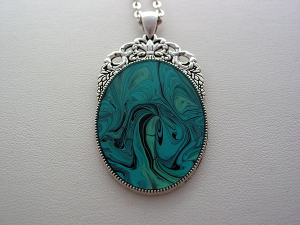 Fluid Art Necklace Original Wearable Aqua Organic Jewelry Dirty Pour Necklace With Chain (las1)