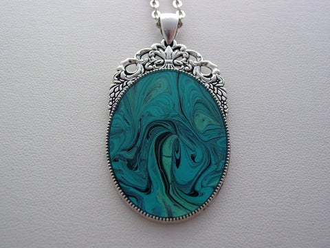 Aqua Fluid Art Necklace Original Wearable Organic Jewelry Dirty Pour Necklace With Chain (las1)