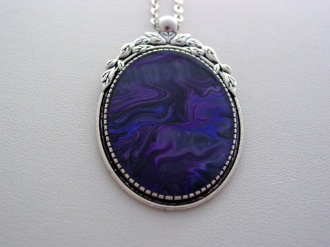 Fluid Art Necklace Purple Wearable Original Organic Jewelry Dirty Pour Necklace With Chain (las2)